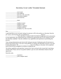 Secretary Cover Letter Template Sample By Write N Write Sample