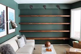 Wall To Wall Bookshelf Diy Solid Wood Wall To Wall Shelves Chris Loves Julia