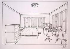 bedroom drawing one point perspective. Fine Perspective Homework One Point Perspective Room Drawing With Bedroom One O