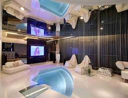 White Ceramic Flooring Tiles In Luxurious And Modern Interior Has Recessed  Lights Chair And Living Table ...