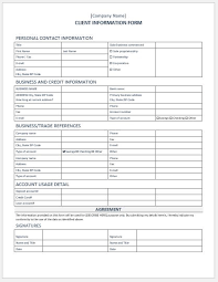 Customer Information Template Client Information Form Template For Word Word Excel