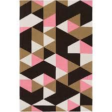 artistic weavers joan fulton pink and tan and black rectangular 2 ft x 3