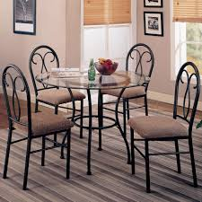 Glass top dining sets Frosted Glass Furniture Depot Clear Glass Top Metal Base Modern 5pc Round Top Dining Set