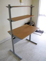 grey and wood ikea floating desk for home furniture ideas