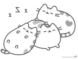 Pusheen Coloring Pages Sleeping Printable And Free Coloring Pages