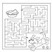 幼児の教育迷路や迷宮ゲームの漫画ベクトルの例パズルページ概要骨と