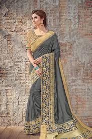 Grey Color Designer Blouse Embroidery Designs On Grey Color Art Silk Fabric Party Wear Saree With Designer Blouse