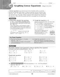 graphing linear equations answer key glencoe algebra 1 tessshlo