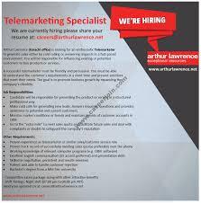 arthur lawrence jobs telemarketing specialist