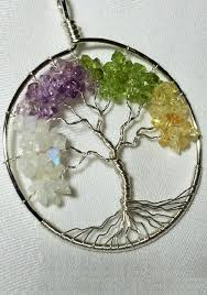 four season tree of life in sterling silver moonstone amethyst peridot and