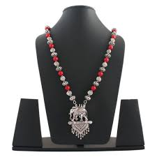 german silver elephant pendant with red beads long chain necklace