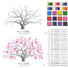Wedding Guest Book Template Thumbprint Family Tree Sign In Wedding Thumbprint Guest Book