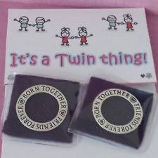 2 x twins keepsake rings charms twin mum christening gift baby