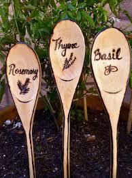 rustic herbs vegetable garden sign woodburned markers 4 99 via etsy