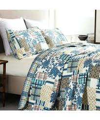 blue and brown quilting fabric home fashion designs patchwork hill quilt set alt 3 blue and brown