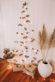 Christmas Tree Design On Wall With Lights Diy Fairy Light Xmas Tree Spell The Gypsy Collective