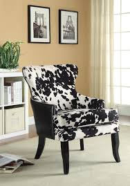 Printed Chairs Living Room Coaster 902169 Accent Chair Cowhide Print Fabric And Black Leatherette