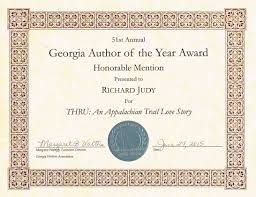 Honorable Mention Certificate Thru Gets First Novel Honorable Mention From The Georgia