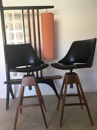 2 vine mid century teak swivel bar stools retro parker th brown wallace era