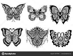 Zes Prachtige Unieke Vlinders Voor Ontwerpelement Zoals Sticker