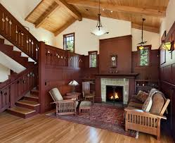 craftsman style fireplace in living room plus craftsman style rugs with bowl