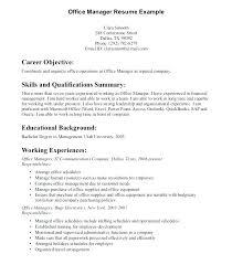 It Manager Resume Objective Impressive Sample Office Manager Resume ...