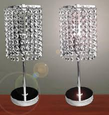 pair of touch bedside table lamps with stainless steel stand and hanging crystal as lampshade ideas