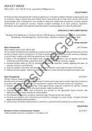 Salon Receptionist Resume Examples 2019 Resumeget Com