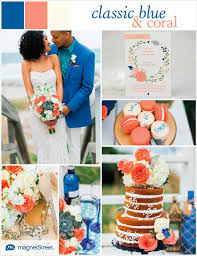 Classic blue and coral wedding inspiration with free Save the Date Magnet  wedding sample