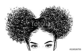 Curly Beauty Girl Illustration Isolated On Clear Background Double