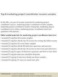 top8marketingprojectcoordinatorresumesamples 150514010336 lva1 app6892 thumbnail 4 jpg cb 1431565461