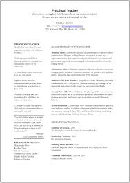 Preschool Teacher Resume Resumes Name Kitchen Aide Sle Cover Doc