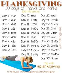 Plank Exercise Chart November Planksgiving 30 Days Of Thanks And Planks Monthly