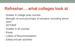senior meeting college application process   of curriculum rigor of schedule including senior year act sat grades in all courses essay letters of recommendation extracurricular activities
