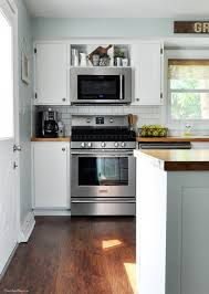 stove with microwave. industrial farmhouse kitchen stove with microwave