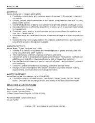 Sample Resume For Server Waitress