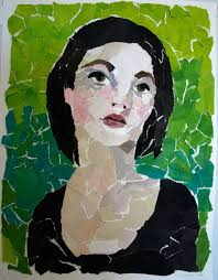 self portrait made with torn paper