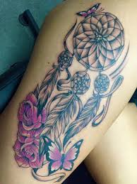 Dream Catcher Tattoo On Thigh Watercolor Simple Dreamcatcher Tattoo On Left Side Thigh 76