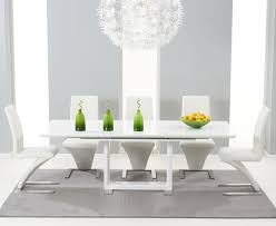 bianco 160cm white high gloss extending dining table with hampstead z chairs
