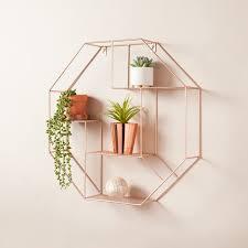 hexagon shelf rose gold shelving