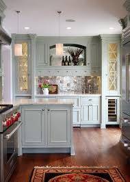 gray green inspired kitchen cabines