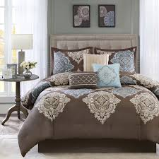 beige king size comforter sets beautiful 7pc modern elegant brown blue aqua ivory 19