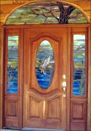 stained glass entry doors custom leaded glass entry wit wildlife swamp setting stained glass front doors