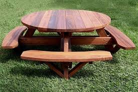 round picnic table with attached benches