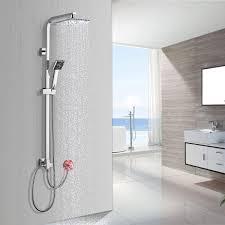 Bonade Duschsystem Ohne Armatur Duschsäule Regendusche Duscharmatur Inkl Verstellbar Duschstange 885 1235 Mm Kopfbrause Aus Sus304 Edelstahl Und