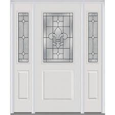white front door with glass. MMI Door 60 In. X 80 Carrollton Left-Hand 1/2 White Front With Glass O