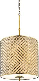 4 light drum shade chandelier with french gold finish