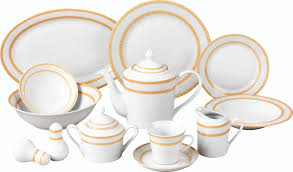 piece gold matte floral border porcelain dinnerware set