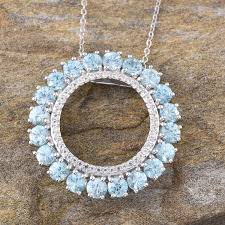 cambodian blue zircon rnd white topaz circle pendant with chain 20 in in platinum overlay sterling silver nickel free tgw 7 88 cts luxuryjewelry