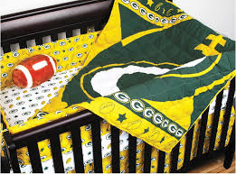 4pc nfl green bay packers crib bedding set football baby